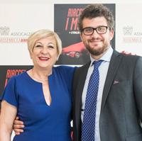 Annarita Pilotti with Tommaso Cancellara, president and director of Assocalzaturifici