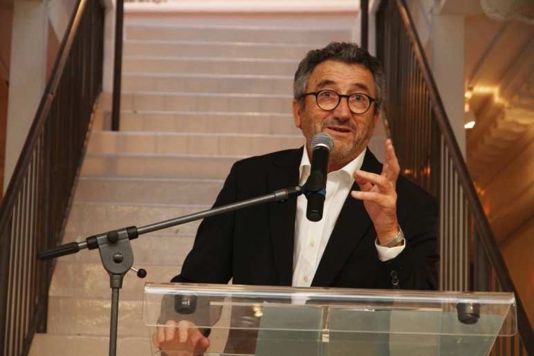 Jean-Pierre Renaudin, chairman of the French Footwear Federation, at the opening of the exhibition